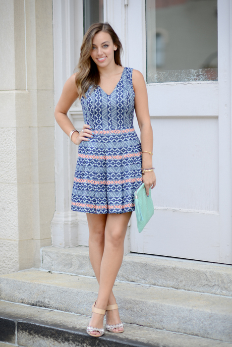 Piperlime Skies are Blue Aztec Chambray Dress (2)